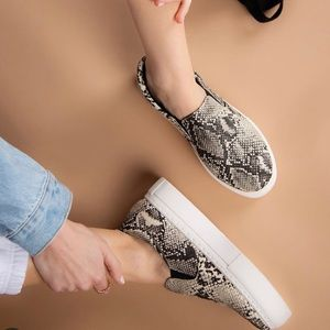 Beige Brown Snakeskin Slip On Sneakers